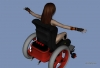 3D wheelchair model Ioke in bodysuit and powerchair