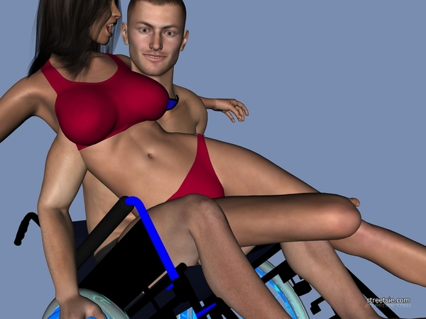 3D model Michael in a blue hospital style wheelchair doing a wheelstand with Victoria in his lap
