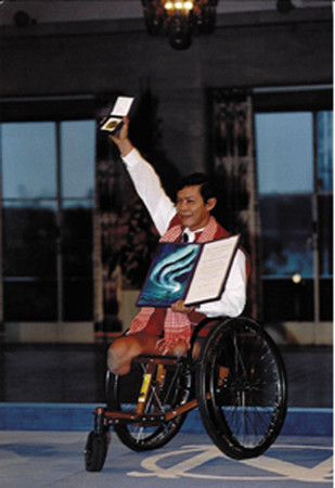 Wheelchair advocate Cambodian national Tun Channareth Reth 1997 Nobel Peace Prize winner