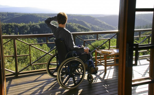 Francois enjoys the view from his wheechair in Knynsa
