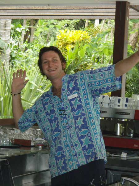 Tim the Barman working on Dunk Island