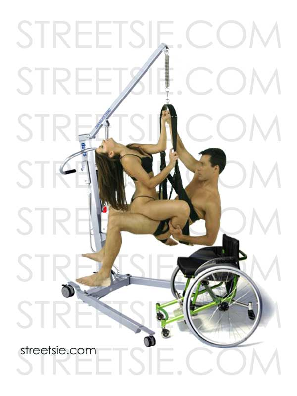 Sexy wheelchair lovers bouncing in love swing climax suspended by personal patient hoist