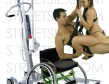 Sexy wheelchair babe shivers in orgasm sitting on top of boyfriend in love swing suspended by personal patient hoist