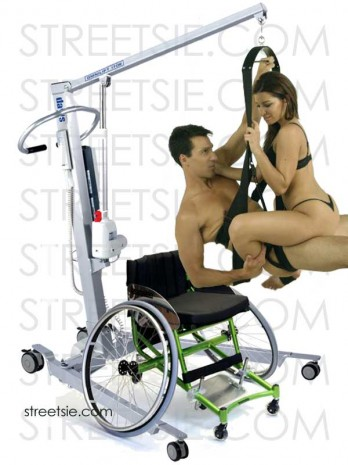 Sexy wheelchair babe shivers in orgasm sitting on her boyfriend in love swing suspended by personal patient hoist
