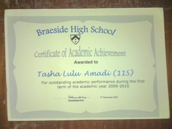 Certificate of Academic Achievement