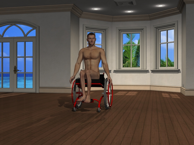 Disabled wheelchair model animation Michael pushing manual Flex design wheelchair