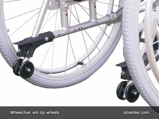 Manual wheelchair rearward stability anti-tipping bars with wheels