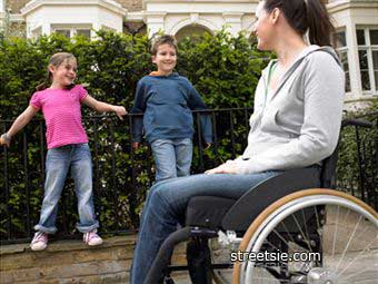 Spinal cord injury wheelchair mother and children